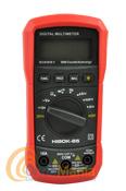 HIBOK 85 MULTIMETRO DIGITAL - Polímetro/Múltimetro con 28 posiciones de medida y con un gran display LCD retroiluminado de 14 mm, dispone de selección manual de rangos e incluye protector de goma anti golpes