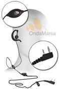 MICROFONO-AURICULAR PARA KENWOOD/DYNASCAN/MIDLAND - Micr�fono auricular (pinganillo) ergon�mico con cable liso y sujecci�n en la oreja y micr�fono con pinza, ideal para Kenwood, Dynascan, Kirisun y Midland Alan CT-200/210