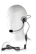 HS2-02 MICROFONO AURICULAR CON DIADEMA Y MICROFONO CON BOOM - Micrófono auricular pinganillo con diadema y micrófono con boom, el PTT para transmisión va insetado en el cable. Compatible con equipos con conmutación tipo Kenwood.