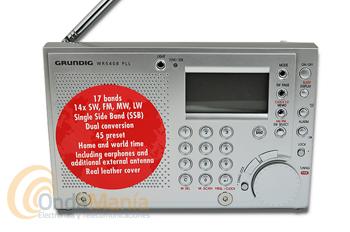 GRUNDIG WR-5408 PLL RADIO MULTIBANDA CON SINTONIZADOR PLL DIGITAL - Receptor multibanda con AM, FM, OC y OLcon sintonizador PLL. Altavoz integrado, toma de auriculares, control automático de frecuencia (AFC), 45 memorias, reloj con sleep timer, 2 horas mundiales, alarma por radio o señal sonora, incluye funda de piel, antena de OC externa y auriculares.
