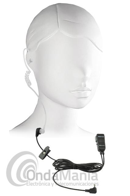 MIDLAND MA-31SX - Midland MA-31SX micrófono auricular acústico y transparente rizado ideal para el Midland 777. El micrófono auricular tiene un conmutador para poder utilizar el Midland 777 con VOX o PTT.