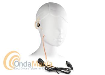 JD-30-GP344R MICRO-AURICULAR TRANSPARENTE PARA MOTOROLA GP-344 - Micrófono auricular (pinganillo) con cable rizado en su ergonómico auricular transparente y con pulsador PTT para Motorola GP-344/388/328Plus/EX500/EX600,....