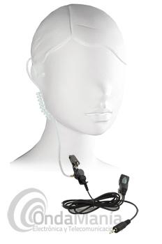 MICROFONO AURICULAR PINGANILLO TUBULAR PARA EL KENWOOD PKT-23 - Micrófono auricular pinganillo tubular transparente, acústico de silicona compatible con el Kenwood PKT-23.