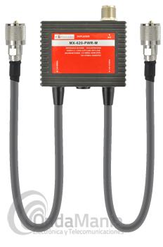 KOMUNIKA MX-620-PWR-M DUPLEXOR 1,6 - 56 MHZ Y 140 - 470 MHZ CON CABLES - Duplexor con conectores PL y dos latiguillos con conectores PL machos, la frecuencia de salida de cada latiguillo es de 1.6 a 56 Mhz y de 140 a 470 Mhz con una potencia máxima de 600 W