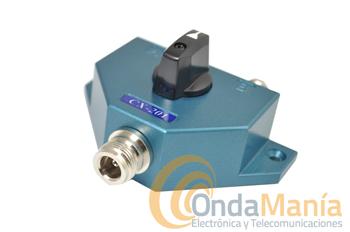 CONMUTADOR CX-201N - El CX-201N es unconmutador coaxial de baja perdida con conectores N, dispone de 1 entrada y dos salidas, con un rango de frecuencia de hasta 600 Mhz., con una potencia máxima de 1KW en CW y una impedancia de 50 Ohm.