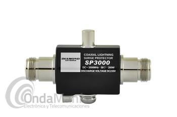 DIAMOND SP-3000 PROTECTOR DE ANTENA CONTRA CHISPAS DE RAYOS - Protector de antena contra chispas de rayos con un margen de frecuencia de hasta 3000 Mhz, 200 W de potencia máxima, dispone de dos conectores N hembra.
