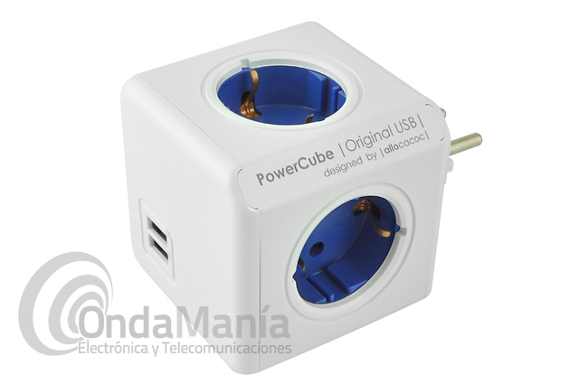 POWER CUBE ORIGINAL USB CON 4 TOMAS DE RED+2 USB - El PowerCube es un cubo con 4 tomas dealimentación y dos tomas USB para poder cargar y alimentar con sus 5 V y 2100 mAh cualquier dispositivo electrónico como móviles, tablets, cámaras,...