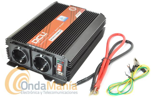DCU-1000-24V CONVERSOR/INVERTER 24V A 220V CON 1000W ONDA MODIFICADA - Inversor de corriente de la Gama DCU Basic de 24V a 220V con una potencia continua de 1000W Onda Modificada. La gama básica de inversores DCU, presenta un sistema electrónico eficiente y de bajo consumo, aprobado por las entidades reguladoras de la UE.