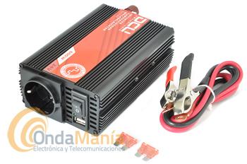 DCU-600-24V CONVERSOR/INVERTER 24V A 220V CON 600W ONDA MODIFICADA - Inversor de corriente de la Gama DCU Basic de 24V a 220V con una potencia continua de 600W Onda Modificada. La gama básica de inversores DCU, presenta un sistema electrónico eficiente y de bajo consumo, aprobado por las entidades reguladoras de la UE.