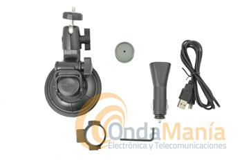 BULLET HD KIT F; KIT DE SUJECCION EN VEHICULOS+CABLE DE CARGA/ALIMENTACION - Kit de fijación especial en vehículo, incluye soporte con ventosa y cable de alimentación y carga con toma de mechero a 12V.