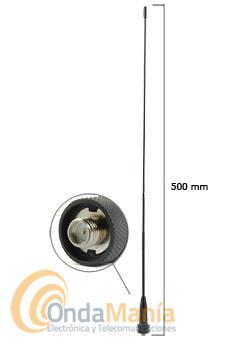 ANTENA D-ORIGINAL DX-SRH-50-F - Antena para walky doble banda con conector SMA invertido (SMA Female) con una longitud de 500 mm.