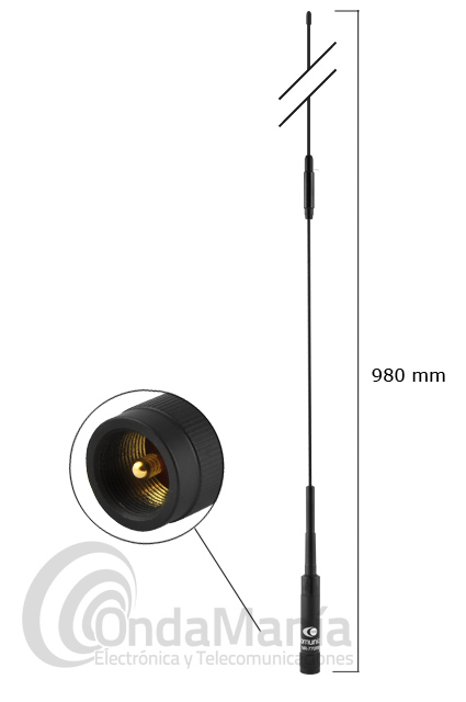 KOMUNICA POWER NR-770RB NEGRA ANTENA PARA MOVIL DOBLE BANDA UHF/VHF 200W