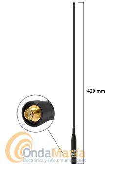 KOMUNICA SRH-40SMAF ANTENA PARA WALKIE DOBLE BANDA EXTRA-FLEXIBLE CON CONECTOR SMA INVERTIDO - SMAF - Antena doble banda para walkie con 42 cm de longitud, extra-flexible con conector SMA invertido SMAF