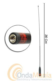 DB-25SM ANTENA DOBLE BANDA CON SMA MACHO - Antena de goma super-flexible con 36 cm (aprox) de longitud, doble banda con conector SMA macho (SMA estandar) ideal para walkys tipo al Dynascan DB-75, Midland CT-710, Kenwood, Yaesu, Baofeng,...