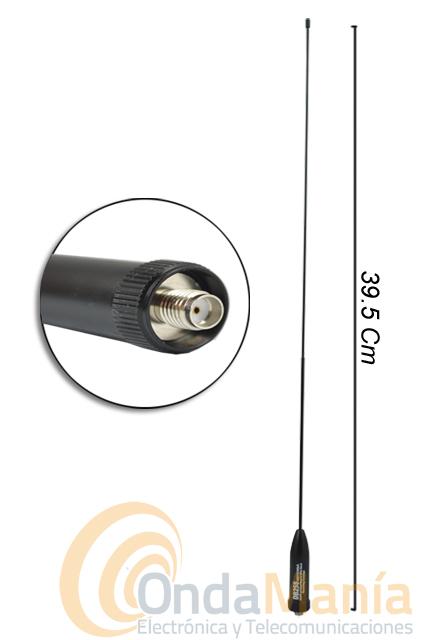 DB-25S ANTENA DOBLE BANDA CON SMA HEMBRA - Antena de goma super-flexible con 40 cm de longitud, doble banda con conector SMA hembra (SMA invertido) ideal para walkys tipo al Dynascan DB-48, Midland CT-790,...