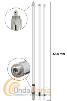GTE 1900 ANTENA DE BASE DOBLE BANDA VHF Y UHF - Antena de base de fibra de vidrio doble banda UHF y VHF con una longitud de 520 cm en tres tramos y 300 W de potencia máxima.