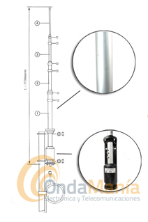 JETFON OUT-250B ANTENA VERTICAL DE BASE DE BANDA ANCHA - Antena vertical de banda anchade aluminio, sin radiales, para base, con una cobertura en TX de 3 a 57 Mhz y en RX de 2 a 90 Mhz.