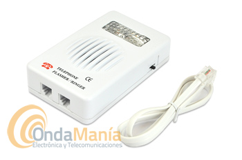 TIMBRE TELEFONICO SUPLETORIO JETFON TA-783 - Timbre telefónico supletorio con luz. Adaptable a cualquier teléfono con cable, aparte del sonido incluye un led indicador de llamada. Ideal para personas con deficiencias auditivas.