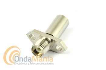 SMA HEMBRA DE CHASIS PARA CRIMPAR EN CABLE RG-58 - Conector SMA hembra para sujeción en chasis mediante dos tornillos (no incluidos) para crimpar en cable RG-58