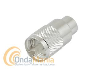 CONECTOR PL DE ALTA CALIDAD PARA RG-213 PLATEADO - Conector PL de alta calidad plateado para cable tipo RG-213, H-2000,...