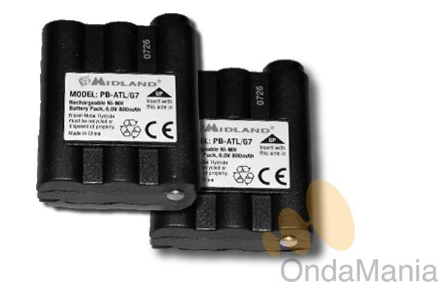 MIDLAND PB-ATL/G7 PACK 2 BATERIAS - Pareja de baterías para Midland G-7 y Midland Nautico Atlantic de Ni-Mh con 6V y 800 mAh.