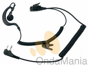 MIDLAND A21M - MIDLAND A21M Micro-auricular (norma militar)lobular regulable con PTT, jack 2 pin a 90º.