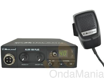 MIDLAND ALAN 100 PLUS -  El Alan 100 Plus es un transceptor móvil de tamaño reducido pero con un contenido tecnológico a la par de sus hermanos mayores. Ahora con conector de micrófono metálico, lo que le da más robustez ante los inevitables tirones.