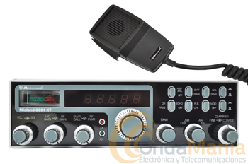 MIDLAND ALAN 8001 XT ULTIMA VERSION - El Alan 8001 es un transceptor móvil de 27 Mhz (banda ciudadana) con AM, FM, LSB y USB su utilización es simple e inmediata, ideal para los enlaces