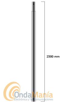 MASTIL GALVANIZADO ENCHUFABLE CON 2,5M  - Mástil enchufable galvanizado con 2,5 metros de longitud con un diámetro de 40 mm y 1,5 mm de espesor