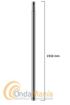 MASTIL GALVANIZADO ENCHUFABLE CON 1,5M  - Mástil enchufable galvanizado con 1,5 metros de longitud con un diámetro de 40 mm y 1,5 mm de espesor