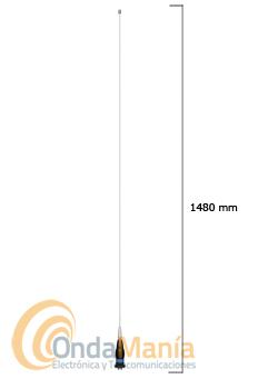 PRESIDENT ALASKA ANTENA DE 27 MHZ  - Antena con conector PL y 1480 mm de longitud con una ganancia de 6 dB con una anchura de banda de 26 a 28 MHz y una potencia máxima de 1000 W P.E.P., incluye base y cable RG-58 con conectores incluidos.