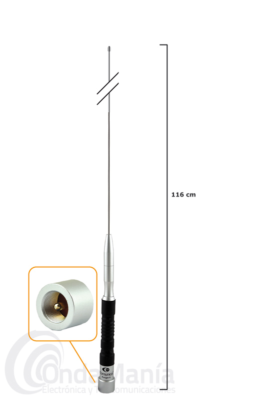 KOMUNICA RANGER 6 ANTENA MOVIL MONOBANDA DE 50 MHZ  - Antena móvil monobanda de HF para 50 Mhz  con conector tipo PL, con 116 cm de longitud, 150 W de potencia, 230 gramos de peso,…