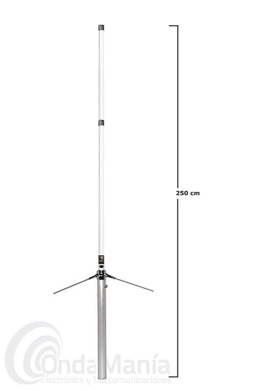 KOMUNICA V-2000-PWR ANTENA DE BASE TRIBANDA 50-144-430 MHZ CON DOS TRAMOS FIBRA - Antena de fibra de vidrio en dos tramos con una longitud de 2500 mm par las bandas de 50, 144 y 430 Mhz, con una ganancia de 2,15 dBi en VHF y de 8,4 dBi en UHF, con una potencia máxima de 350 W.