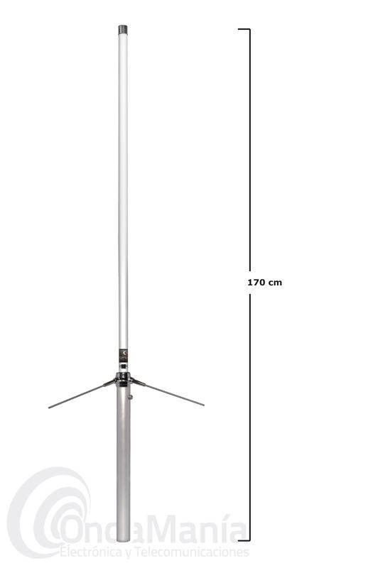 KOMUNICA X-50-PWR ANTENA DE FIBRA DOBLE BANDA UHF/VHF - Antena de fibra de vidrio doble banda VHF/UHF 144/430 MHz, con una longitud de 1,70 mts y 350 W de potencia.