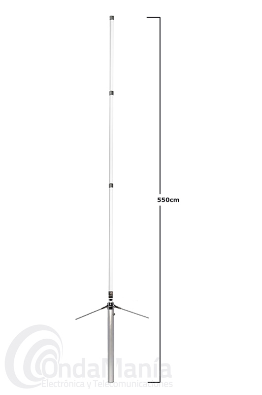 KOMUNICA X-510-PWR ANTENA DE FIBRA DOBLE BANDA UHF/VHF CON 3 TRAMOS