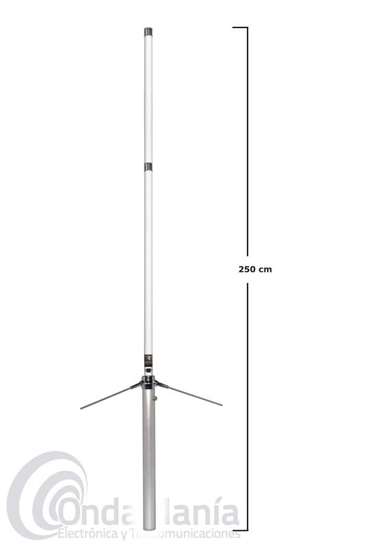 KOMUNICA X-200-2-PWR ANTENA DE FIBRA DOBLE BANDA UHF/VHF CON 2 TRAMOS - Antena de fibra de vidrio doble banda VHF/UHF 144/430 MHz,con dos tramos y con una longitud de 2,5 mts y 350 W de potencia.
