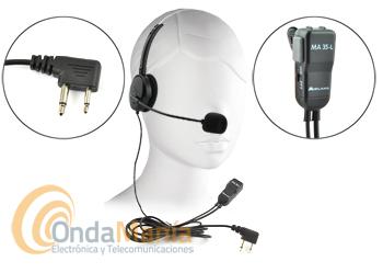 MIDLAND MA-35L MICROFONO AURICULAR CON DIADEMA Y MICRO TIPO BOOM VOX - Micrófono auricular con diadema regulable y micrófono tipo boom y un conmutador para utilizar el micrófono con PTT o con VOX.