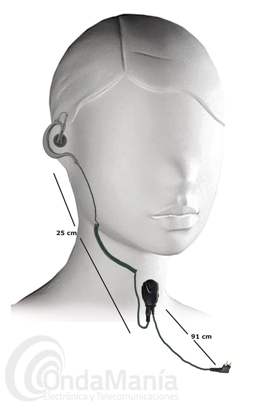 PINGANILLO CON CONTROL DE VOLUMEN Y AURICULAR INTERCAMBIABLE CONMUTACION TIPO MOTOROLA GP-300 - Pinganillo de alta calidad con control de volumen, clip reforzado en la parte posterior del micrófono, pulsador PTT más grande, auricular intercambiable, este micrófono auricular tiene los cables más gruesos, lo que le da un punto más de robustez. Compatible con walki talkis con conmutación tipo Motorola GP-300, Yaesu FT-25, FT-65, Dynascan R-58, DA-350,...