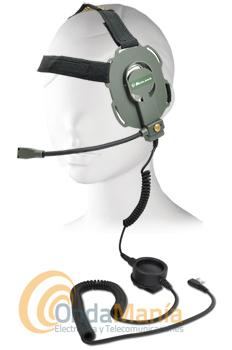 MIDLAND BOW-M EVO K CASCO MILITAR COMPATIBLE CON KENWOOD, DYNASCAN, MIDLAND, BAOFENG... - Micro auricular militar con micrófono de varilla desmontable, PTT táctico y doble sistema de audio, ideal para Air Soft/ Paintball,... compatible con walkies con conmutación tipo Kenwood como los Dynascan, Midland, Baofeng,..... y los propios Kenwood.