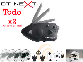 BT-NEXT TWIN INTERCOM MIDLAND PARA PILOTO Y COPILOTO NUEVA VERSION 2012 V2