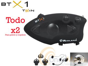 BTX1 TWIN INTERCOM MIDLAND PARA PILOTO Y COPILOTO+PORTE GRATIS - El Midland BTX1 Twin es el novedoso sistema básico intercom Bluetooth 3.0 estéreo para conversaciones entre Piloto y Pasajero en un radio de hasta 10m.