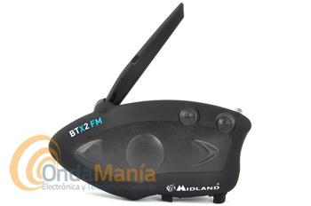 MIDLAND BTX2 FM INTERCOMUNICADOR PILOTO CON COMUNICACION HASTA 4 PERSONAS+PORTES GRATIS - Intercomunicador de moto con radio FM con RDS y 6 memorias, permite comunicación hasta 4 personas (dos a la vez) con una distancia de 800 metros aprox., incluye función Talk 2 All.