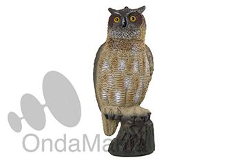 BUHO FIJO SIN MOVIEMIENTO EN LAS ALAS - Búhos de plástico ideales para espantar y ahuyentar a los pájaros que se posan en los elementos de las antenas tipo yagui, tiene una longitud de 51 cm.