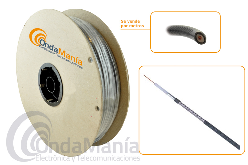 H-155 CABLE COAXIAL DE BAJA PERDIDA (DRAKA) - Cable coaxial de baja pérdida (DRAKA) con un diámetro de 5,4 mm., una impedancia de 50 Ohm, malla estañada, pantalla de aluminio, dieléctrico Foam,...