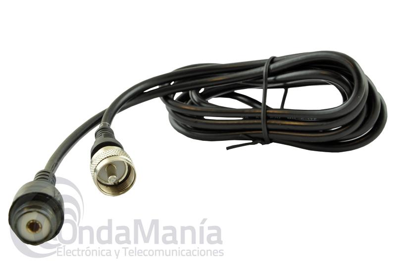 ALARGADOR DE ANTENA PL CON 2 MTS DE LONGITUD - CORDON RALLONGE - Prolongador de cable President con 2 Metros de cable RG-58 con dos conectores tipo PL en cada extremo, uno macho y otro hembra.