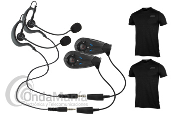 INTERCOMUNICADOR DUO BLUETOOHT PARA 2 ARBITROS - Sistema de intercomunicación encriptada para dos árbitros mediante dos intercomunicadores Bluetooht, los árbitros pueden comunicarse a la vez sin tocar ninguna tecla (duplex total), alcanzan 1,3 Km aprox.,disponen de radio FM y de posibilidad de enlazar 2 intercomunicadores más, podemos utilizarlos a la intemperie gracias a su protección IP67, incluyen dos camisetas térmicas con bolsillos para guardar los intercomunicadores.