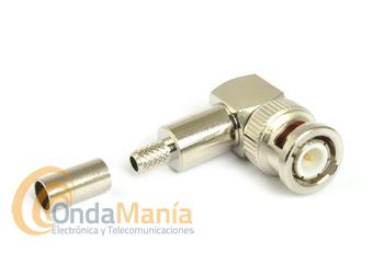 CONECTOR BNC MACHO ACODADO PARA CRIMPAR EN CABLE RG-58 - Conector BNC macho acodado para crimpar en cable RG-58