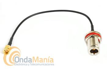LATIGUILLO CON CONECTOR N HEMBRA A SMA R/P MACHO INVERTIDO - Cable/latiguillo de 20 cm de longitud de conector tipo N hembra aérea y con tornillo a chasis a conector SMA R/P macho invertido