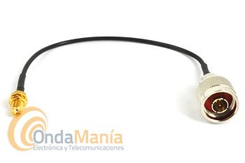 LATIGUILLO CON CONECTOR N MACHO A SMA HEMBRA - Cable/latiguillo de 20 cm de longitud de conector tipo N macho aéreo a conector SMA hembra