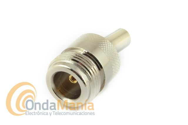 CONECTOR N HEMBRA AEREO PARA CRIMPAR EN CABLE RG-58
